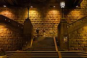 Stairways under the Brankov Bridge.<br /> <br /> Savamala neighborhood of Belgrade, Serbia.