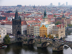 Ariel view of Charles Bridge or Karluv Most in Prague in Czech Republic