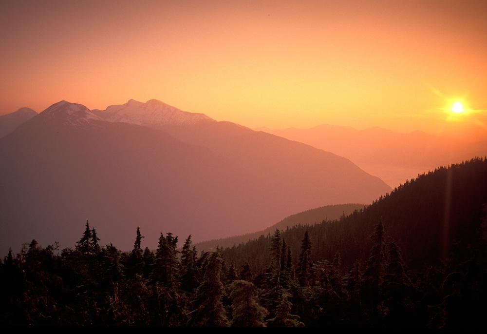 Sunset, Coast Mountains near Bella Coola,British Columbia,Canada