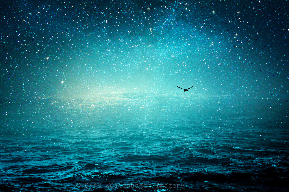 Surreal seascape with a starry sky - photomanipulation/composing<br /> Prints: http://www.redbubble.com/people/dyrkwyst/works/22483059-the-sea-and-the-universe?asc=u&amp;ref=recent-owner
