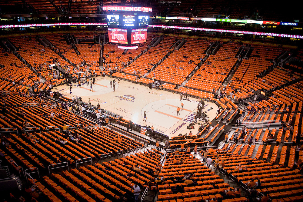 May 29, 2010; Phoenix, AZ, USA; Overall view of the US Airways Center with orange Phoenix Suns tshirts laid across the seats prior to game six of the western conference finals in the 2010 NBA Playoffs at US Airways Center.  Mandatory Credit: Jennifer Stewart-US PRESSWIRE
