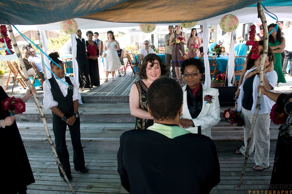 The wedding of Lisha McKoy and Jessica Wolvek in Fire Island, New York on June 8, 2009. It was a lesbian, same-sex wedding held at a house on the beach.