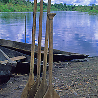 South America, Peru, Amazon River. Canoe Oars