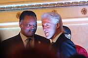 New York, NY-January 31:  (L-R) Rev. Jesse Jackson, Founder, Rainbow PUSH and Former President Bill Clinton attend ' the Access to Capital ' Luncheon held during the 16th Annual Wall Street Project Economic Summit held at the Roosevelt Hotel on January 31, 2013 in New York City. The Rainbow PUSH Coalition is a progressive organization protecting, defending and expanding civil rights to improve economics and educational opportunity.  (Terrence Jennings)