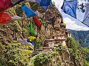 Asia, Bhutan, Paro, Taktshang Goemba Tigers nest monastery,prayer flags