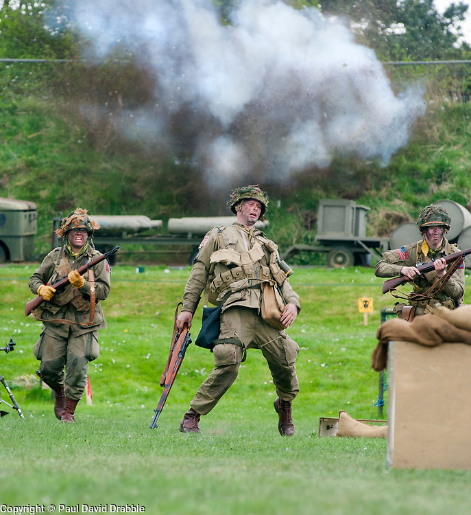 Reenactor of the NWW2A Portraying a paratroopers from the US 82nd Airborne Division during a battle reenactment at Fort Paull on Sunday <br /> <br /> 5 May 2013<br /> Image &copy; Paul David Drabble