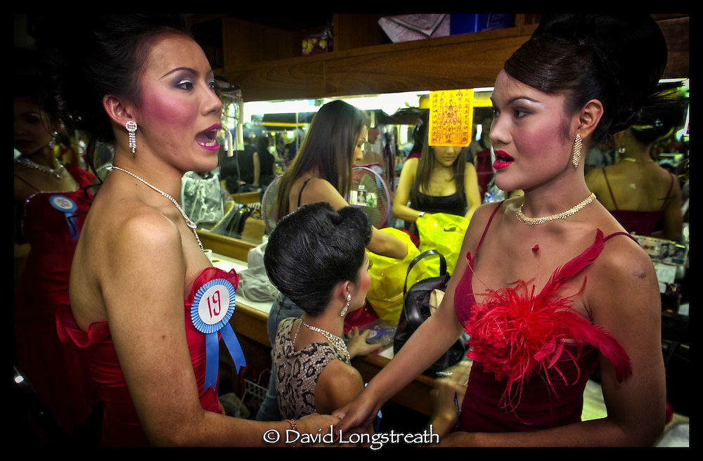 Transvestite beauty pageant contestants gather for Miss Tiffany Universe Gay Beauty pageant in Pattaya, Thailand.