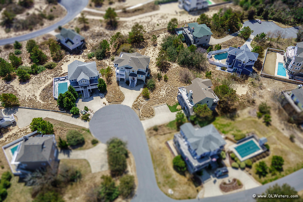 Aerial view of a tiny house development on the Outer Banks