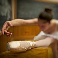Classic ballerina dancing inside a classroom at Yale University.