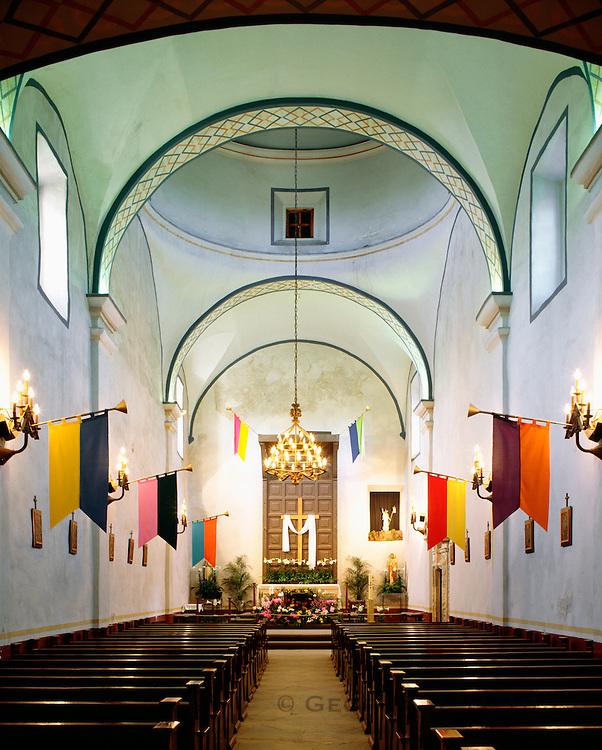0506-1063 ~ Copyright: George H. H. Huey ~ Interior of Church at Mission San Jose y San Miguel de Aguayo, San Antonio Missions National Historical Park, Texas.
