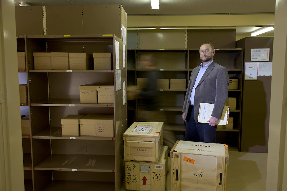 In the Repatriation Centre in Canberra Dr Michael Pickering Head Aboriginal and Torres Srait Islander Program National Museum of Australia. Checking recent arrivals of remains from overseas museums.