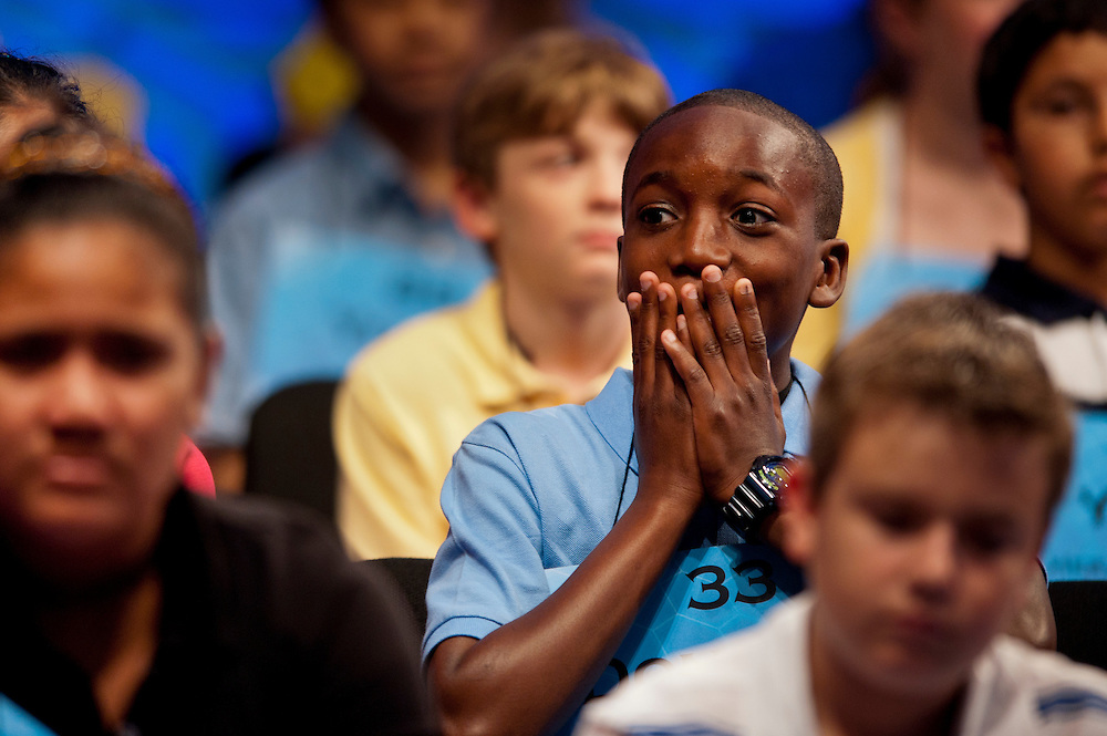 Donovan Jordan, sponsored by The Washington Informer, Washington, D.C.,  competes in round three of the preliminaries of the 84th annual Scripps National Spelling Bee in Maryland. There are 275 spellers from across the United States and around the world competing to advance to the semifinals on Thursday