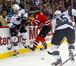 February 20, 2008; Newark, NJ, USA;  San Jose Sharks left wing Jody Shelley (45) skates by teammate San Jose Sharks center Jeremy Roenick (27) and New Jersey Devils defenseman Vitaly Vishnevski (2)during the first period at the Prudential Center in Newark, NJ.