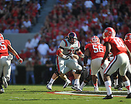 Ole Miss offensive lineman Pierce Burton (71) vs. Georgia at Sanford Stadium in Athens, Ga. on Saturday, November 3, 2012.