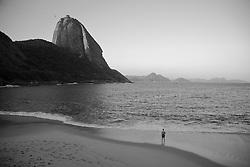 A Praia Vermelha, na Urca e o Pao de Acucar/ Red Beach in Urca,  with the Sugarloaf Mountain, traditional postcard of Rio de Janeiro.