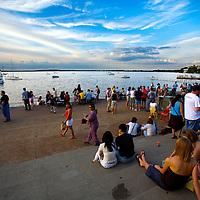 Relaxing on a summer evening at the Memorial Terrace on the University of Wisconsin campus in Madison, Wisconsin.