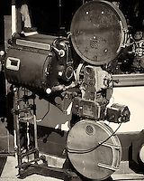 Simplex E-7 Movie Projector. Jerome, Arizona. Gone to See America 2013. Image taken with a Nikon 1 V2 camera and 32mm f/1.2 lens (ISO 160, 32 mm, f/4.5, 1/1250 sec). Image processed and converted to B&W with Capture One Pro 7. Nikonians ANPAT-13.