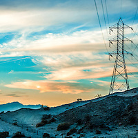 Power lines in the desert of southern california.