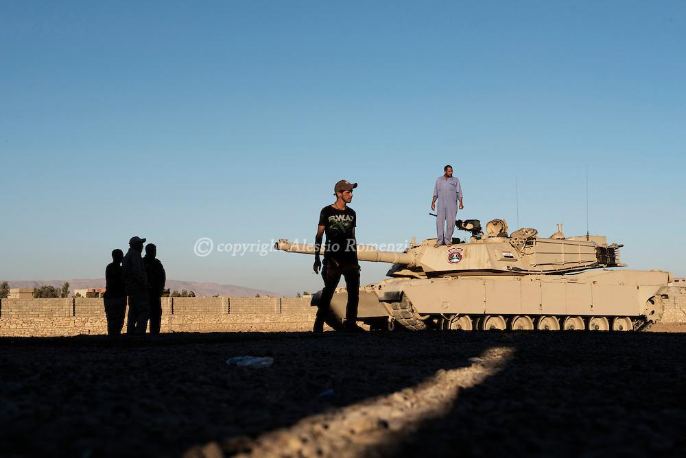 Iraq, Bazwaia: An Iraqi special forces tank is seen  inside their base in Bazwaia. Alessio Romenzi