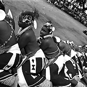 "IPLM0022 , South Africa, Venda, June 2001. Young ""maidens"" take part in the Domba dance. The domba is part of an initiation process, some already have children though traditionally they are meant to be virgins."