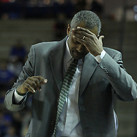George Mason Men's Head Coach Paul Hewitt reacts to foul call against his team in the first half of a regular season NCAA basketball game against Delaware Saturday, March 2, 2013 at the Bob Carpenter Center in Newark Delaware.