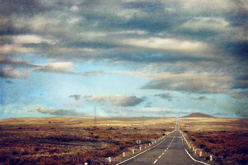 Road through Paúl da Serra, Madeira's high plain. Texturized photograph