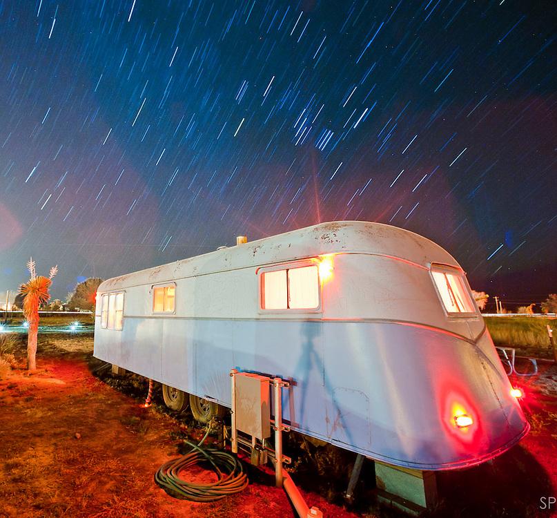 Trailer home at El Cosmico trailer park hotel, Marfa TX