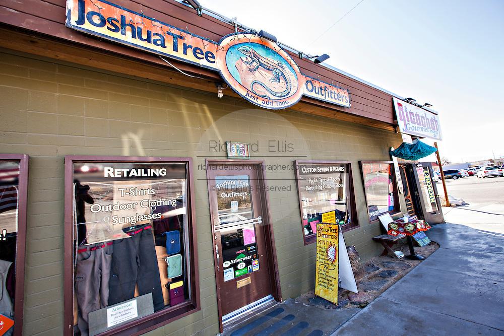 Shops in the Mojave desert town of Joshua Tree, California.