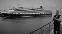 Queen Elizabeth (Cunard Lines) Docking in Southampton, England. Image taken with a Leica X2 camera (ISO 100, 24 mm, f/5, 1/200 sec). In camera B&W. Semester at Sea Spring 2013 Enrichment Voyage.