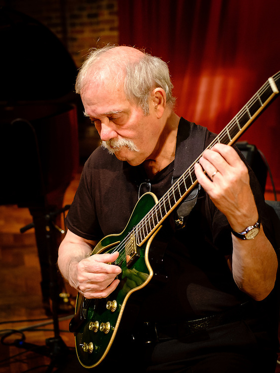 American jazz guitarist John Abercrombie during sound checks at the Turner Sims Concert Hall (Southampton, England)