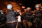 CHICAGO, IL - March 21, 2003: A protester is arrested after antiwar demonstrators shut down Chicago's Lake Shore Drive to protest the start of the Iraq war. <br />