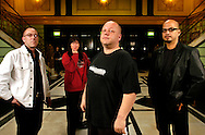 UK. London. The Pixies pose for photographs at The Brixton Academy, London, during their UK tour. From left: Dave Lovering, Kim Deal, Black Francis and Joey Santiago.. Photo©Steve Forrest/Workers' Photos