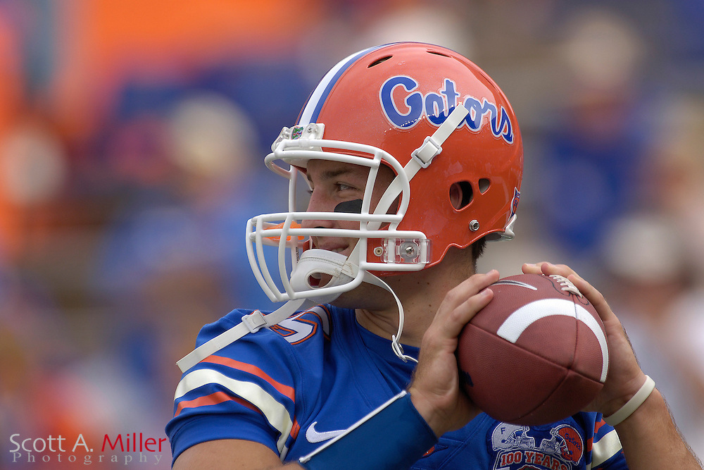 Florida Gators quarterback Tim Tebow (15)  warms up prior to the start of the Gators' game against the Central Florida Golden Knights at Ben Hill Griffin Stadium on Sept. 9, 2006 in Gainesville, Florida......©2006 Scott A. Miller