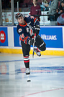 KELOWNA, CANADA - NOVEMBER 9: Deven Sideroff #34 of Team WHLwarms up against the Team Russia on November 9, 2015 during game 1 of the Canada Russia Super Series at Prospera Place in Kelowna, British Columbia, Canada.  (Photo by Marissa Baecker/Western Hockey League)  *** Local Caption *** Deven Sideroff;