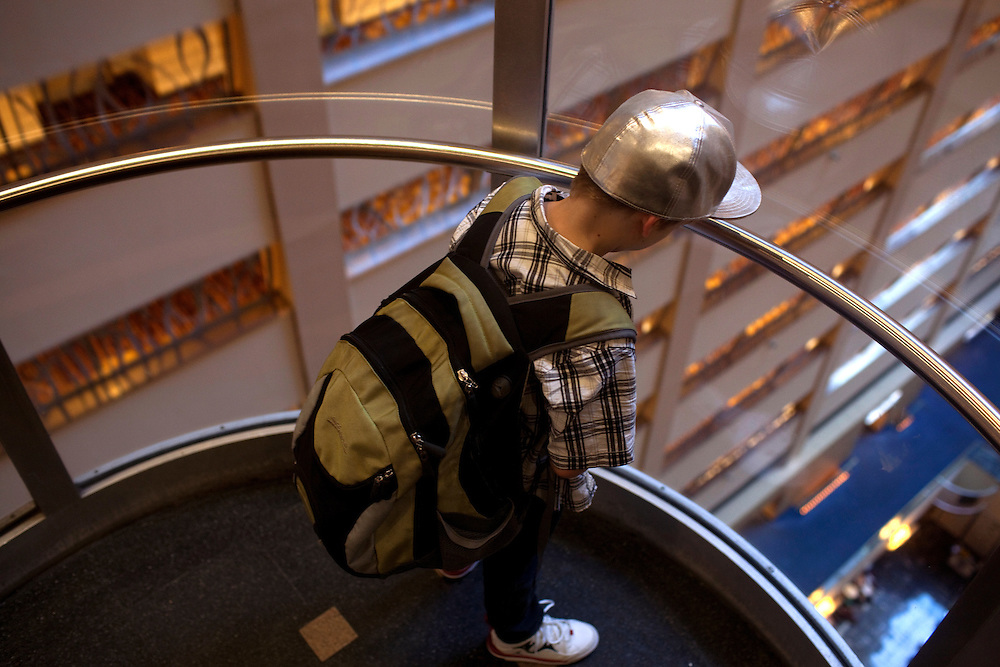 New York, NY - July 05, 2013 : Luke Spring in the elevator at their hotel room during the New York City Dance Alliance National Summer Workshop held at the Sheraton New York Times Square Hotel in New York, NY on  July 05, 2013. Luke Spring, a dance prodigy from Studio Bleu Dance Center in Ashburn, VA, has performed on the Tonys, Ellen, So You Think You Can Dance and The Ford Gala. His sisters Cami Spring, 20, and Lucy Spring, 18, are both award winning dancers. (Photo by Melanie Burford/Prime for The Washington Post)