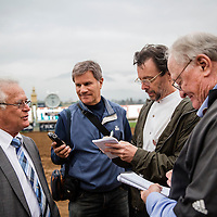 February 07 2015: Trainer of California Chrome, Art Sherman answers questions after the San Antonio Stakes at Santa Anita Park in Arcadia CA. Alex Evers/ESW/CSM`