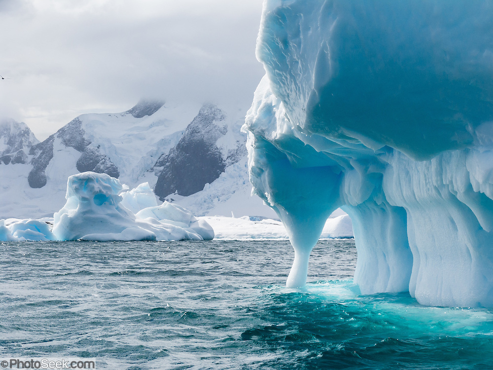 Waves carve an arch from a blue iceberg in the Southern Ocean offshore from Graham Land, the north part of the Antarctic Peninsula, Antarctica.
