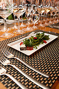 Baby arugula, 24 hour oven dried tomatoes, and Nanny Noir cheese paired with 2010 Inniskillin Winemaker's Series Barrel Aged Pinot Gris VQA as well as a P3 VQA. January 14, 2012. © Allen McEachern.