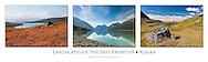Triptych of Denali National Park, Eklutna Lake, and Hatcher Pass in Alaska.