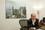 H.E. Joseph Deiss, President of the 65th General.Assembly of the United Nations, at his office at the UN, New York City in January 2011. (photo on wall by photographer Vincent Jendly)