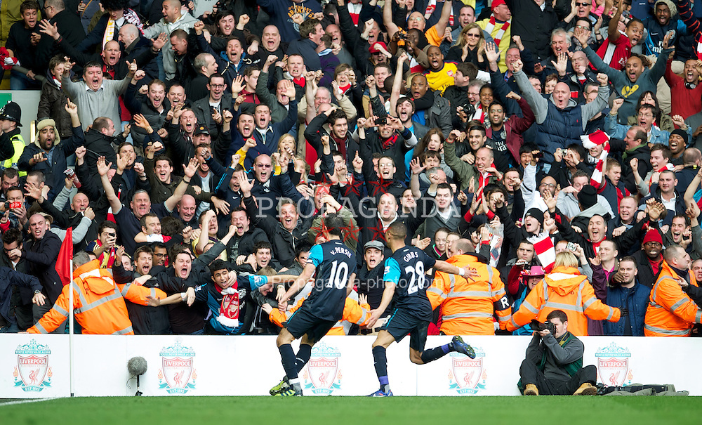 LIVERPOOL, ENGLAND - Saturday, March 3, 2012: Arsenal's Robin Van Persie celebrates scoring the winning goal against Liverpool during the Premiership match at Anfield. (Pic by David Rawcliffe/Propaganda)