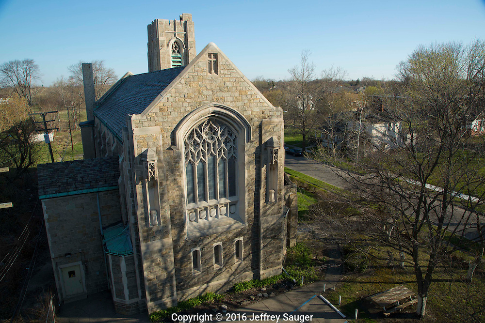 St. Columba Activity Hall and Church in the Jefferson-Chalmers Historic Business District and neighborhood in Detroit, Michigan, Wednesday, April 20, 2016. <br /> <br /> On September 7, 2016, The National Trust for Historic Preservation gave the Jefferson-Chalmers neighborhood in Detroit&rsquo;s lower east side the distinction of a National Treasure. This is the first in the state of Michigan and the first project under the National Trust&rsquo;s ReUrbanism initiative. (Photo by Jeffrey Sauger)
