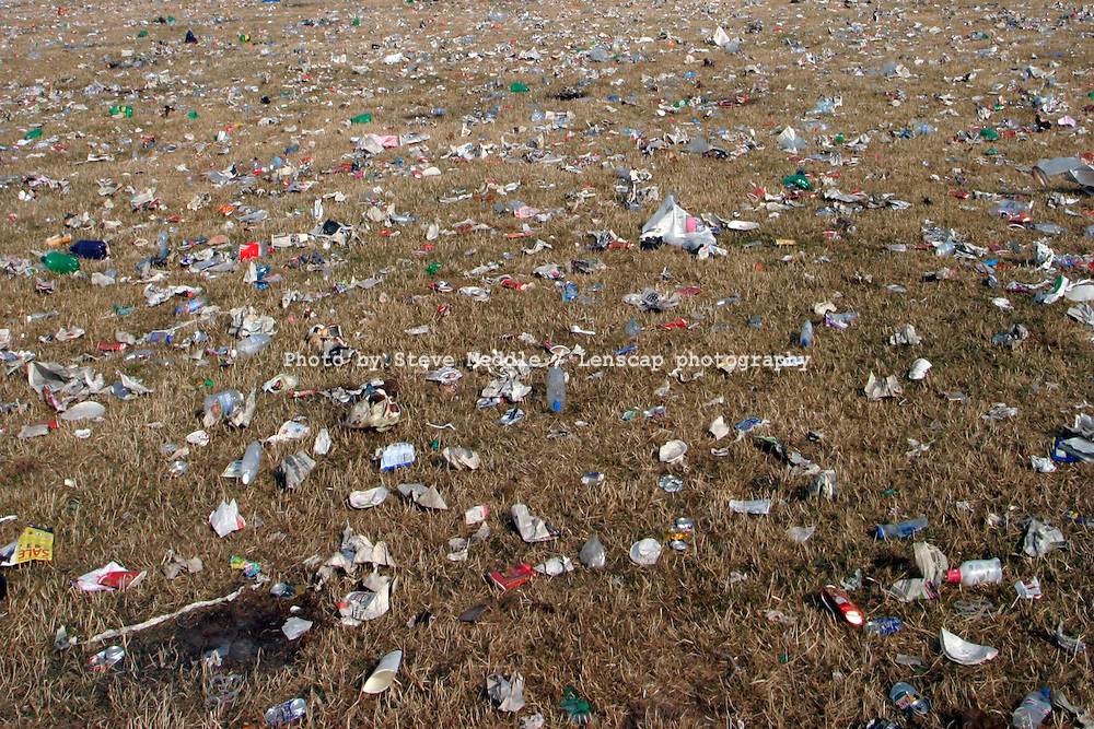 Rubbish left by people after the Glastonbury Music Festival, Glastonbury,<br /> Somerset, Britain.
