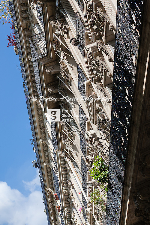 Parisien Balconies as seen from the street on a sunny day