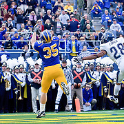 Delaware TE (#35) Colin Naugle couldn't handle the over thrown pass by QB Devlin in the fourth quarter.  No. 1 Delaware loses to No. 15 Villanova 28-21 on a brisk Saturday afternoon at Delaware stadium in Newark Delaware...Delaware will have to wait until Sunday 11/21/10 to receive a NCAA Tournament playoff berth.