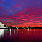 Sunset over the Thomas Jefferson Memorial and the Tidal Basin, Washington, DC