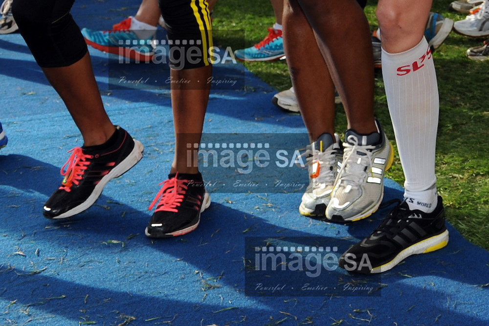 CAPE TOWN, South Africa - Saturday 30 March 2013, Running shoes during the half marathon of the Old Mutual Two Oceans Marathon. .Photo by Roger Sedres/ ImageSA