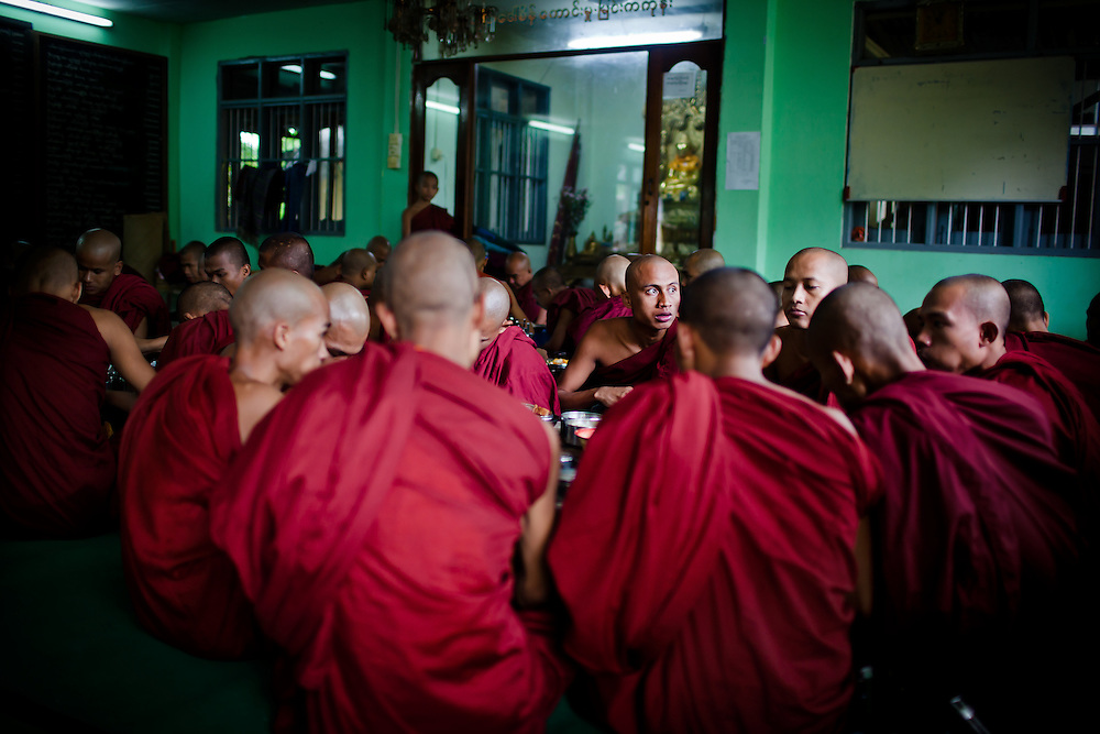 About 10:30am, the monks return to the monastery with the offerings of food they collect each dawn. This is their second, and final meal of the day.