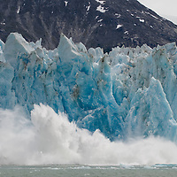 USA, Alaska, Tongass National Forest, Tracy Arm - Fords Terror Wilderness, Massive icebergs calving from face of Dawes Glacier along Endicott Arm