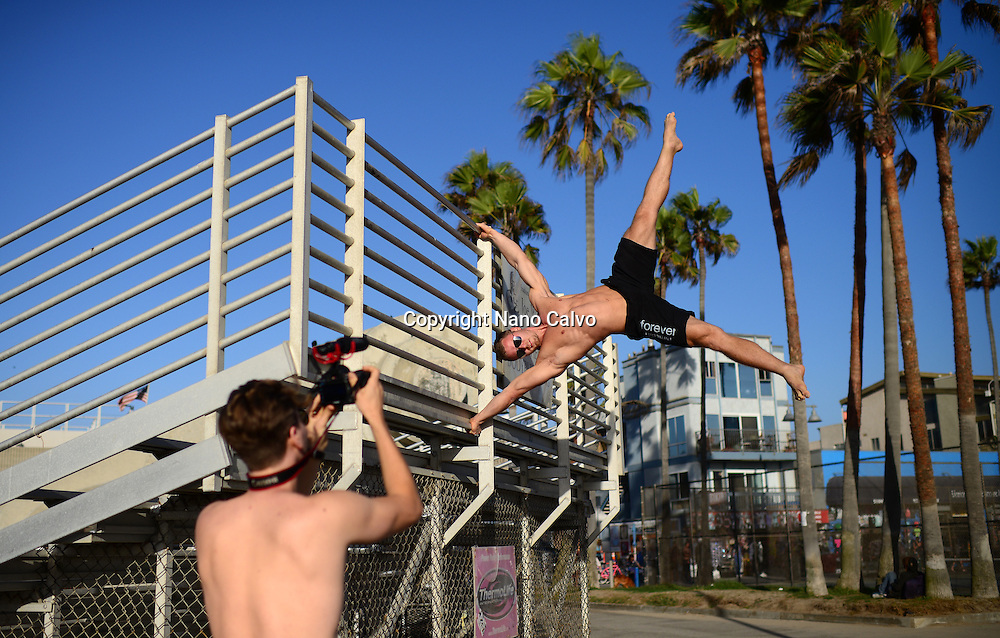 Finnish athlete and coach, Aaro Helander, practicing in Venice Beach Calisthenics park, Los Angeles.